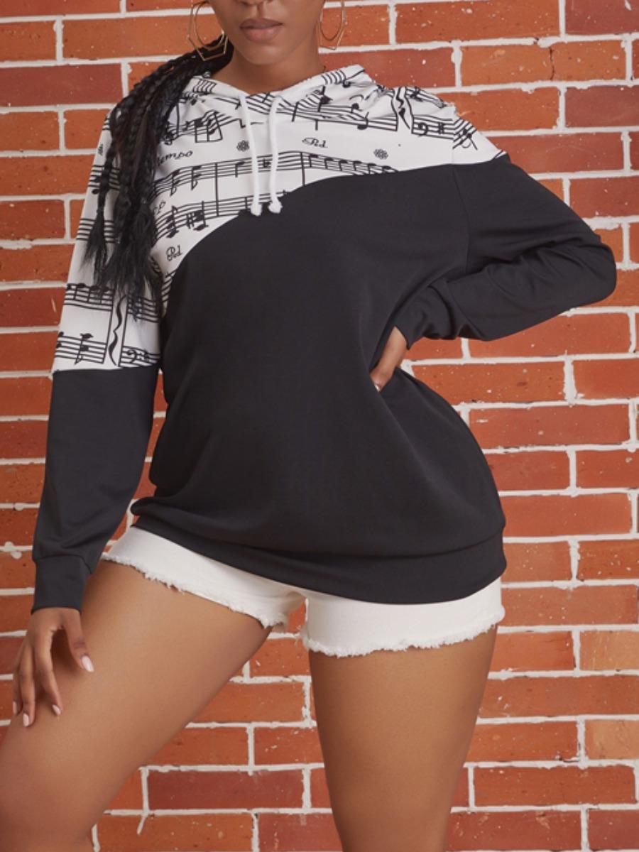 Hoodies lovely Sportswear Hooded Collar Print Patchwork Black Hoodie фото