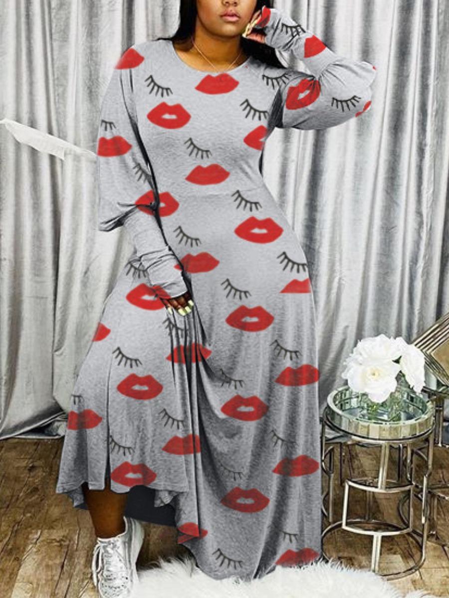 Lovely Casual O Neck Lip Print Grey Maxi Dress фото