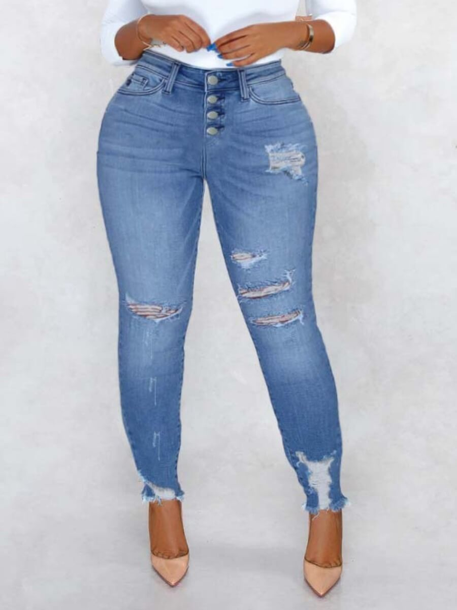 Lovely Trendy Broken Holes Baby Blue Jeans фото