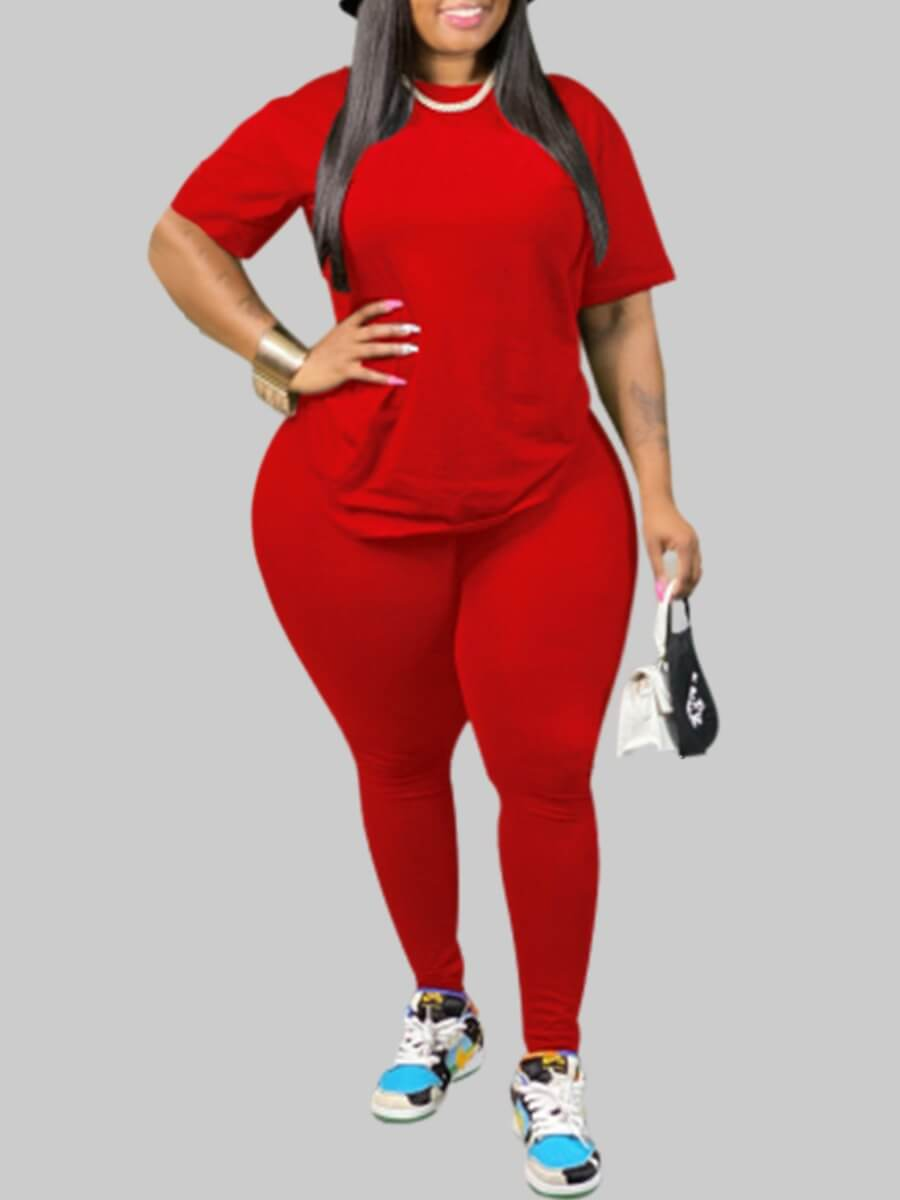 Lovely Casual O Neck Basic Red Plus Size Two-piece Pants Set фото