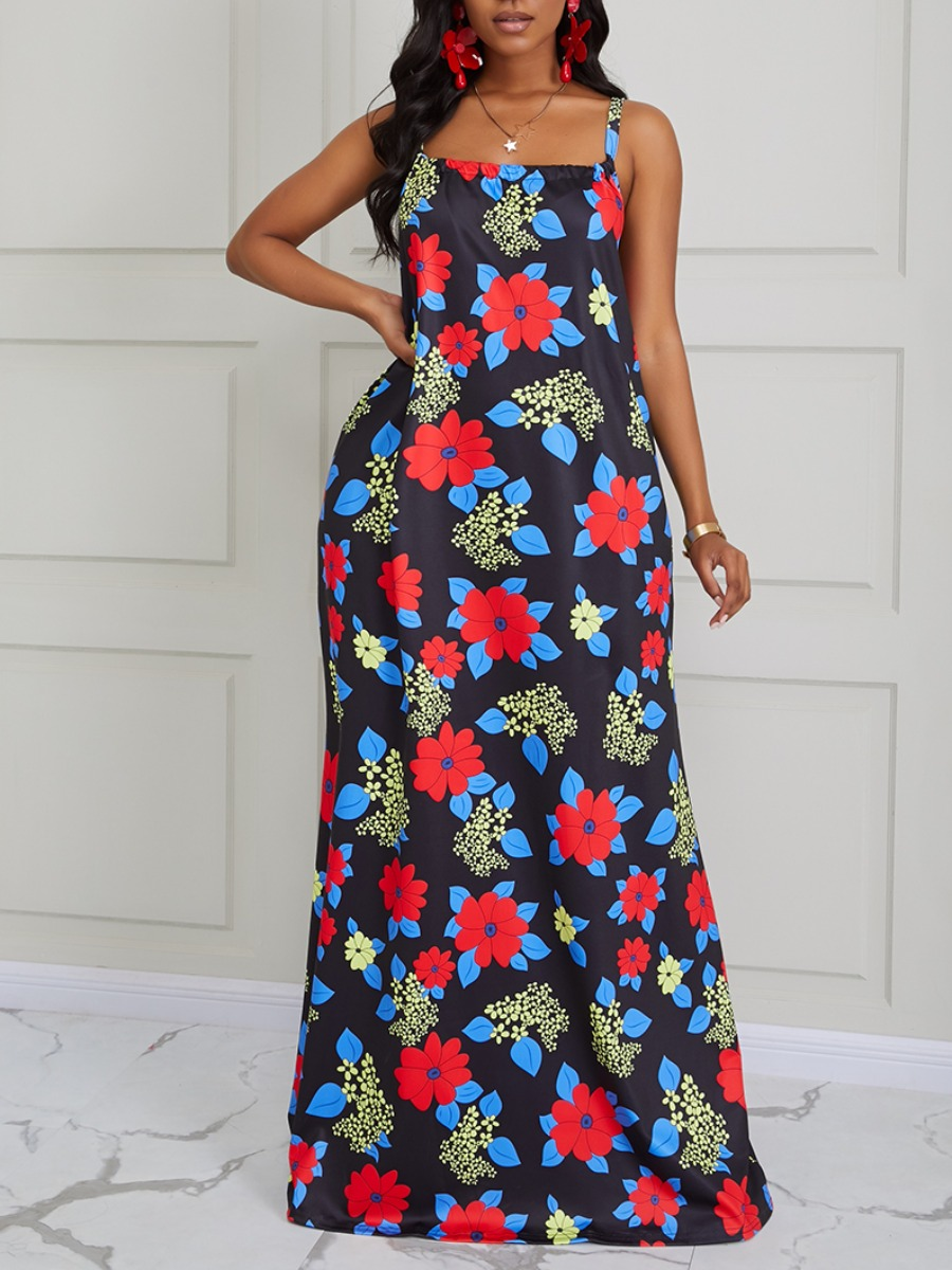 Lovely Trendy Spaghetti Strap Floral Print Dark Blue Maxi Dress фото