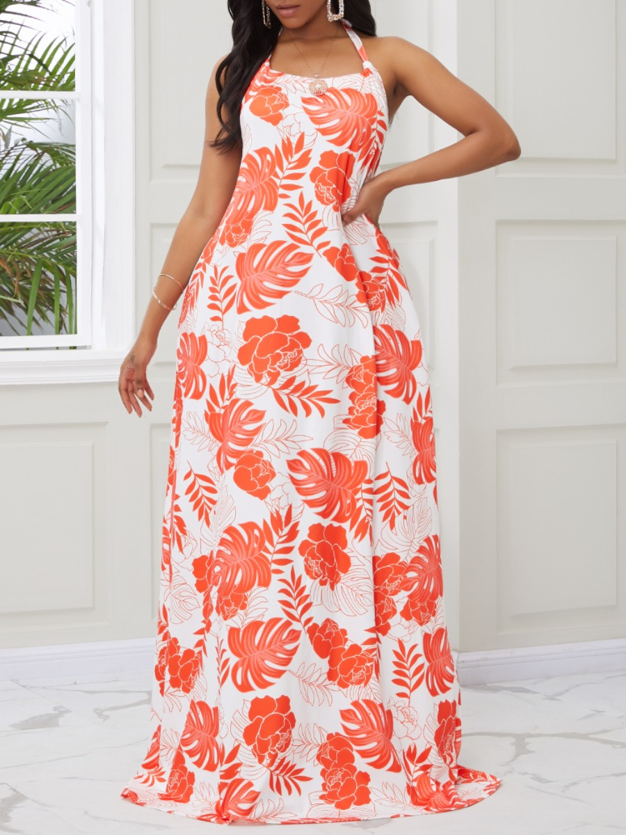 Lovely Trendy Spaghetti Strap Plants Print Orange Red Maxi Dress фото