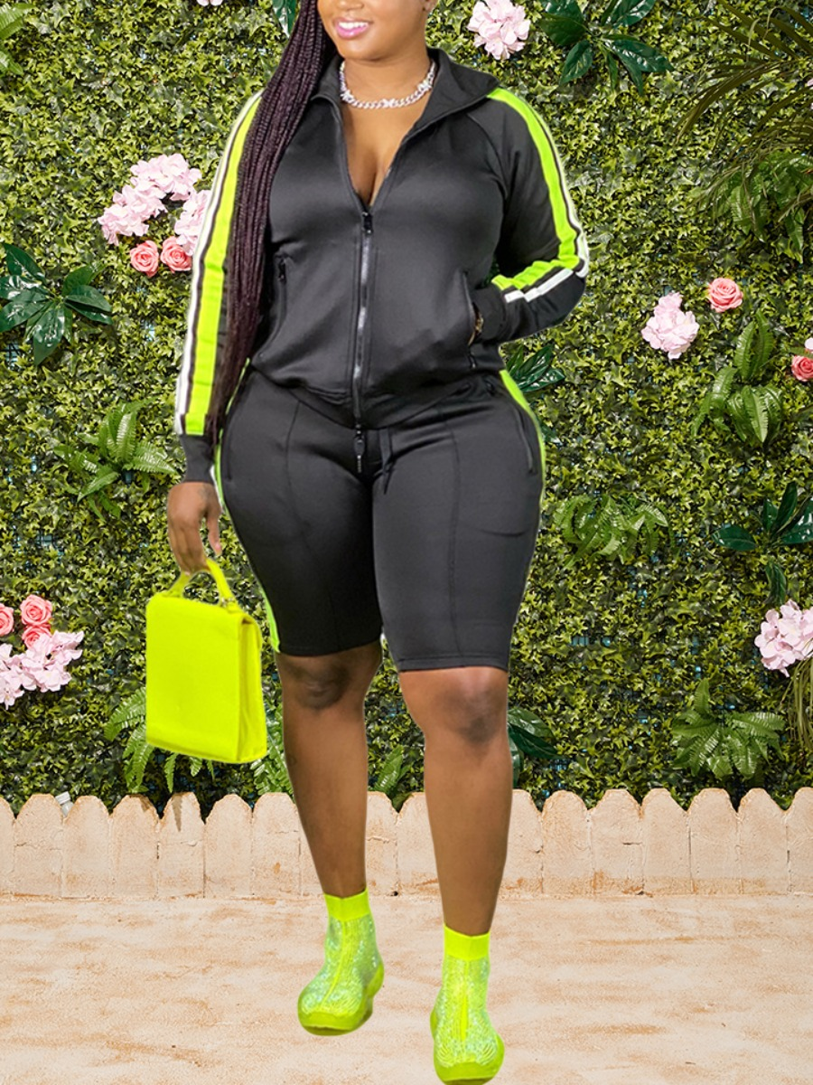Lovely Sportswear Hooded Collar Patchwork Black Plus Size Two-piece Shorts Set фото