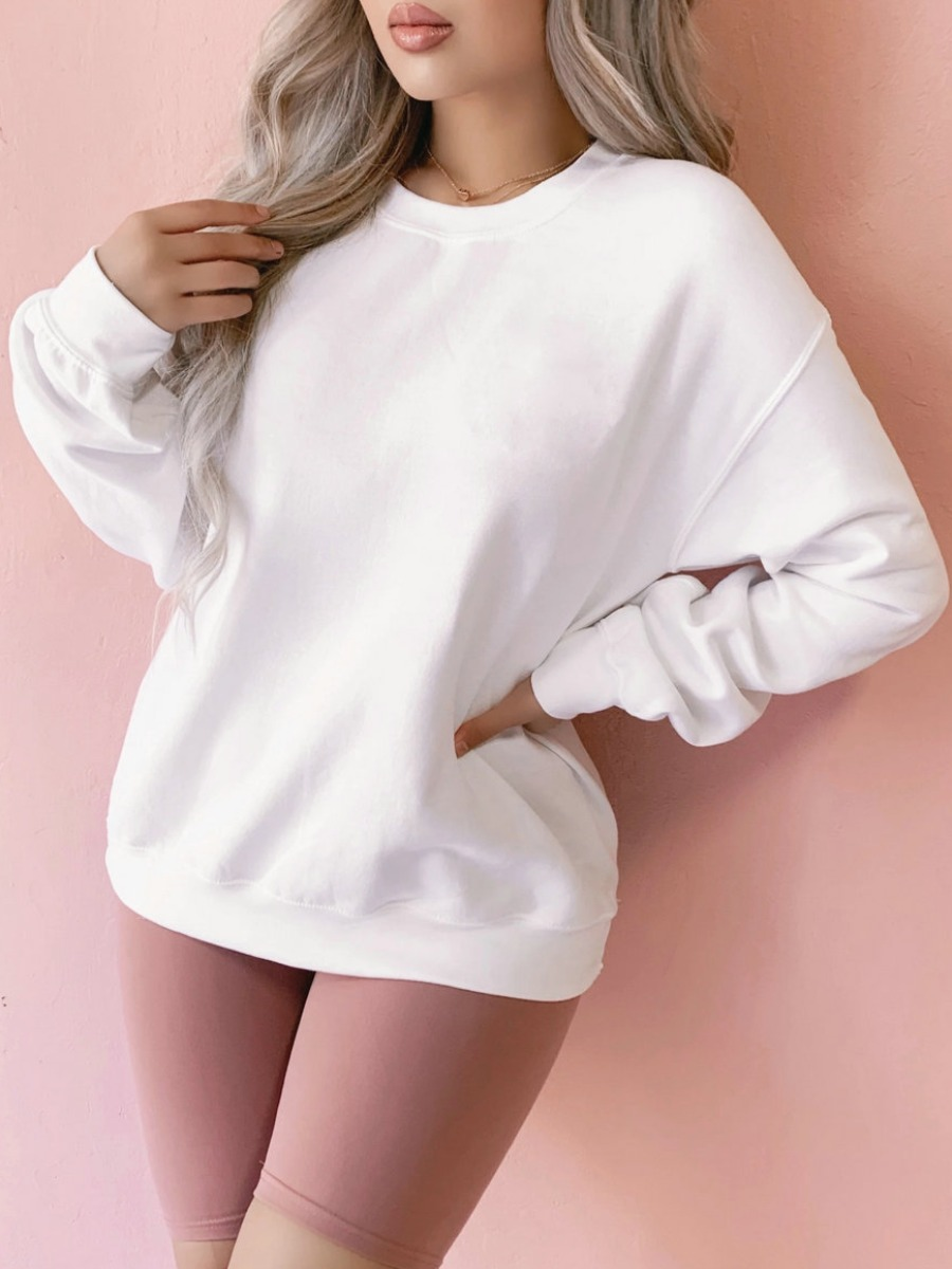 Hoodies lovely Casual O Neck Basic White Hoodie фото