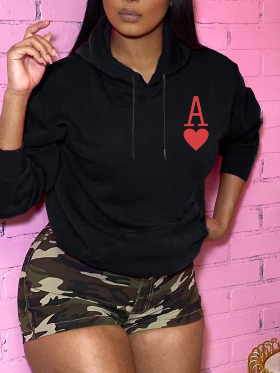 Hoodies Lovely Casual Hooded Collar Print Black Hoodie фото