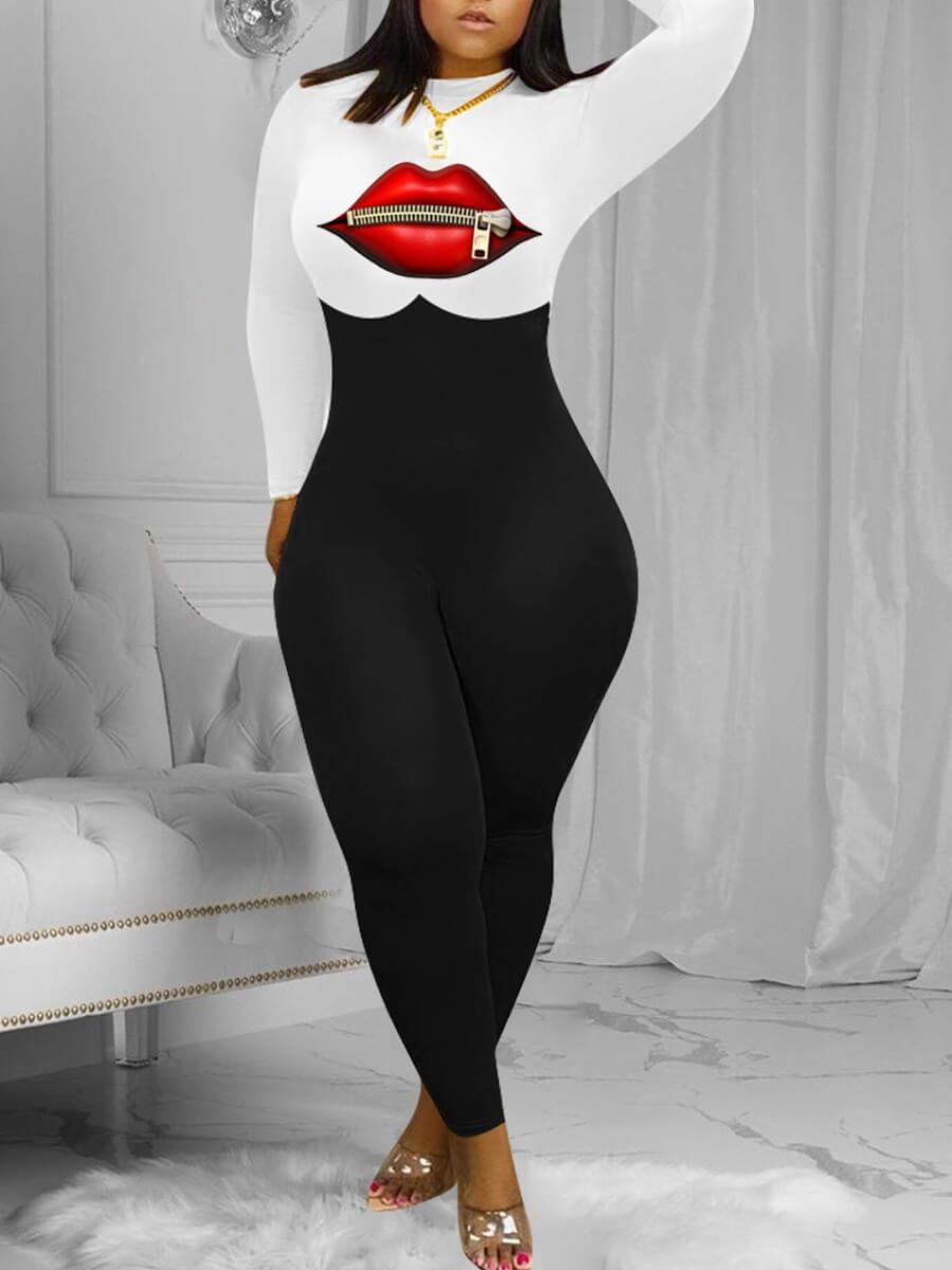 Lovely O Neck Lip Print Patchwork White Jumpsuit