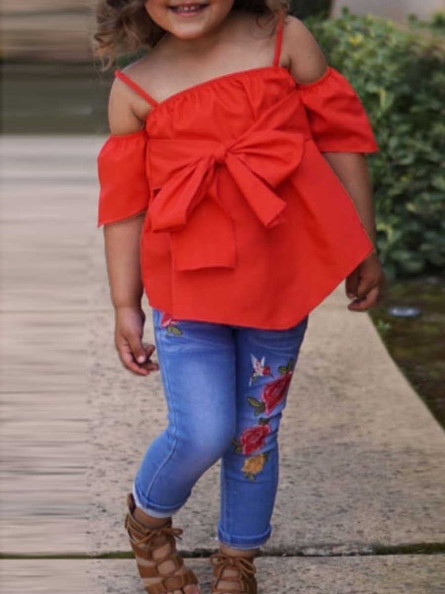 Girls Two-piece Pants Set lovely Casual Hollow-out Bow-Tie Red Girl Two-piece Pants Set фото