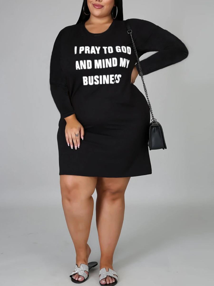 Lovely Casual O Neck Letter Print Black Mini Plus Size Dress фото