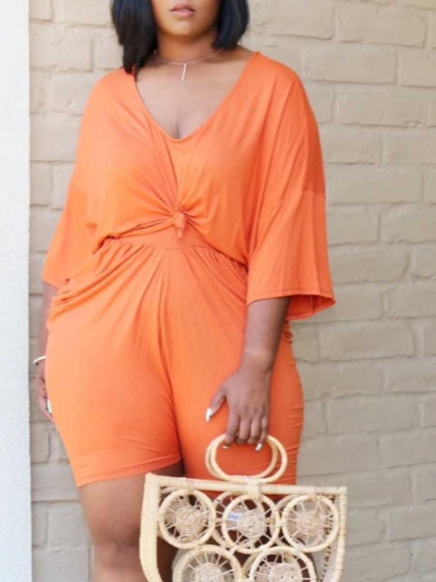 Two-piece Shorts Set lovely Casual V Neck Basic Orange Two Piece Shorts Set фото