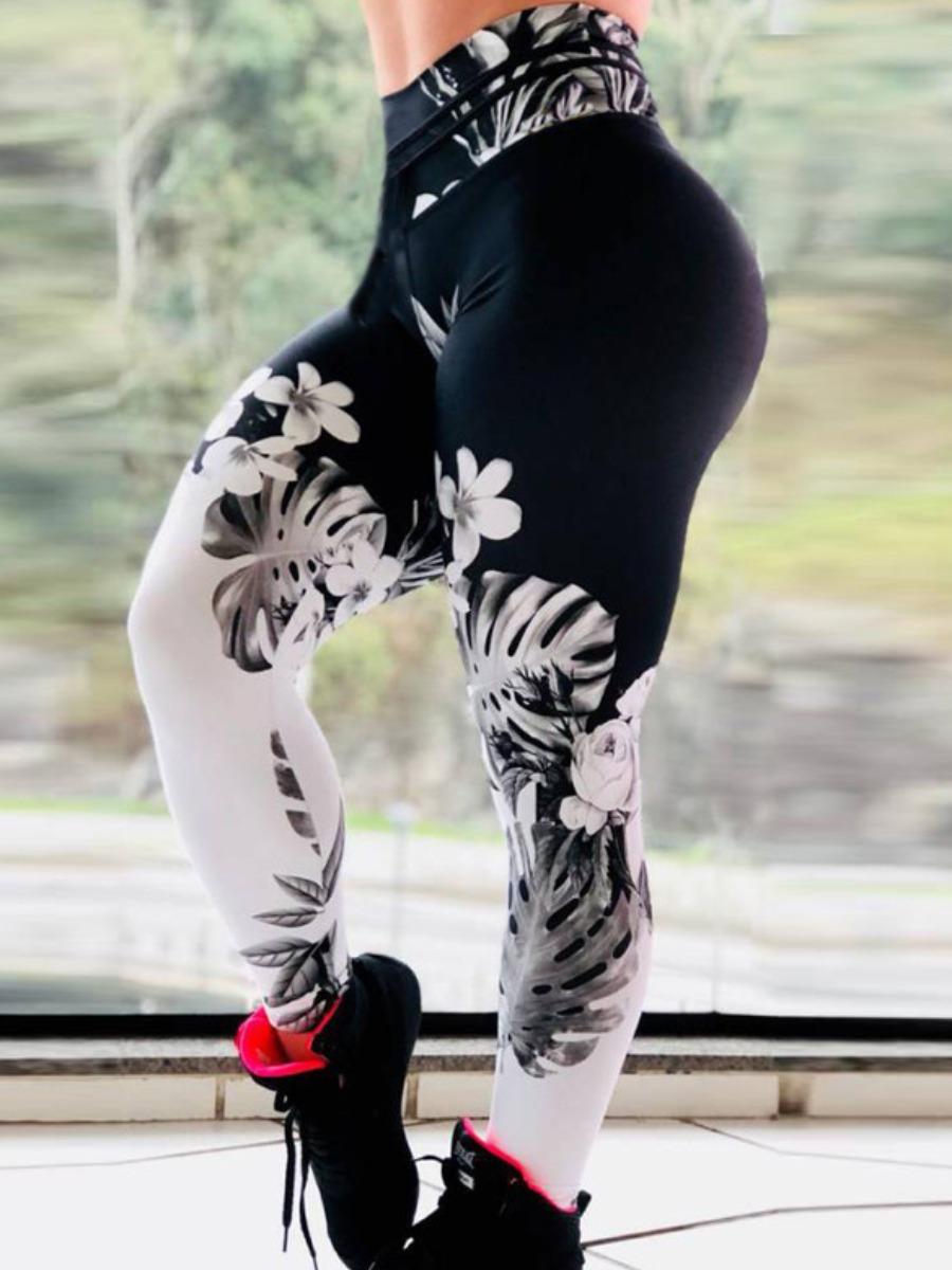 Activewear lovely Sportswear Print Black Pants фото
