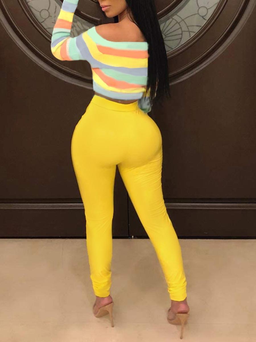 LW Rainbow Striped Twist Front Cropped Pants Set