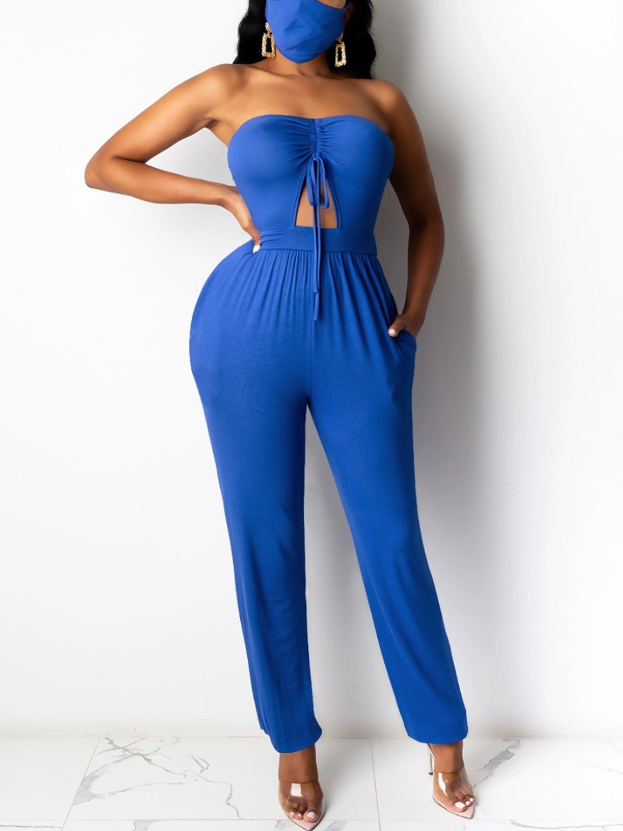 Lovely Trendy Dew Shoulder Hollow-out Deep Blue One-piece Jumpsuit(Two-piece) фото