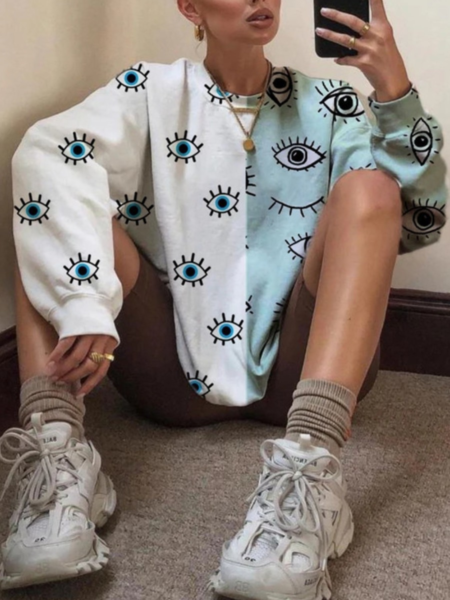 Hoodies lovely Casual O Neck Eye Print Patchwork White Hoodie фото