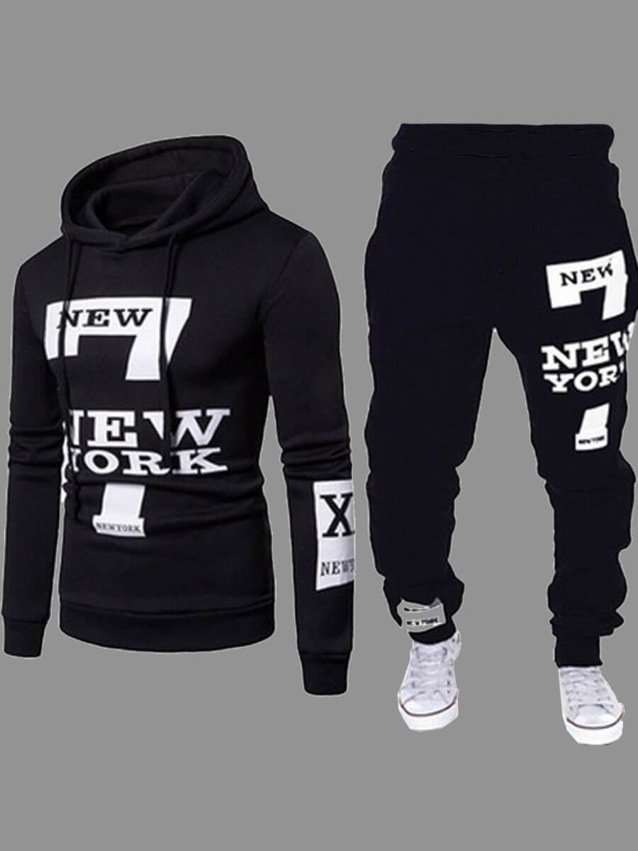 Lovely Men Sportswear Hooded Collar Letter Print Carbon Black Two-piece Pants Set фото