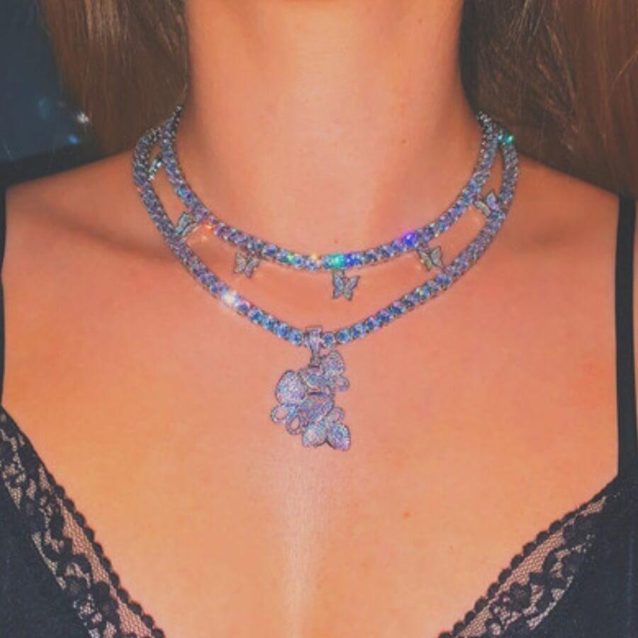 Lovely Stylish Butterfly Silver Necklace