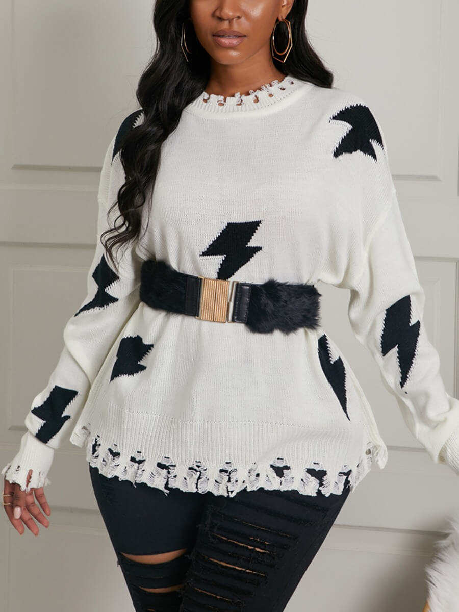 Sweaters & Cardigans lovely Casual O Neck Print Tassel Design White Sweater(Without Belt) фото