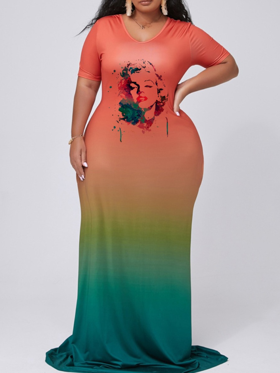 Lovely Casual V Neck Gradient Print Multicolor Maxi Plus Size Dress фото
