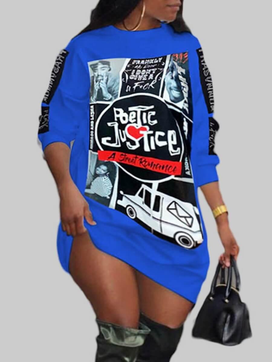 Lovelywholesale coupon: LW Plus Size Street O Neck Print Blue Knee Length Dress