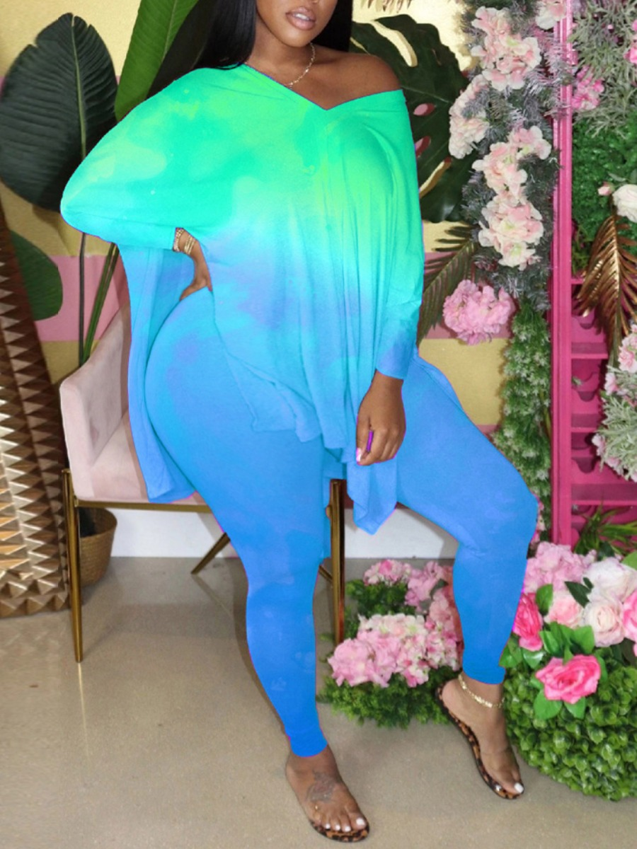 Lovely Street V Neck Tie-dye Side Slit Green Plus Size Two-piece Pants Set фото