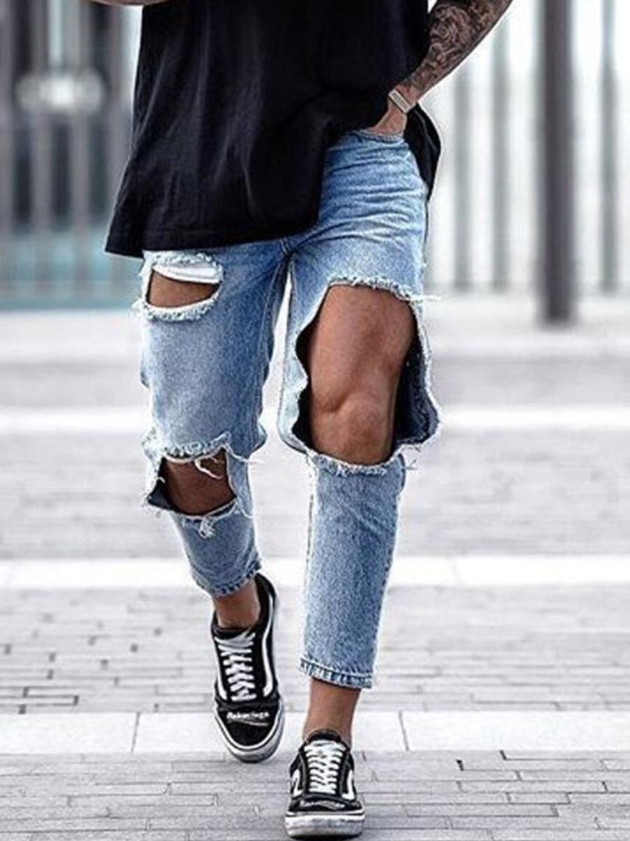 Lovely Street Broken Holes Grey Men Jeans фото