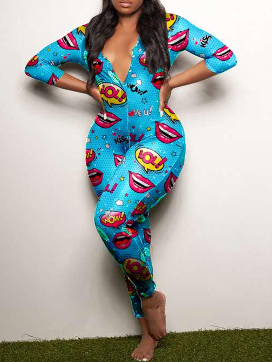 Lovely Sportswear Lip Print Skyblue One-piece Jumpsuit фото