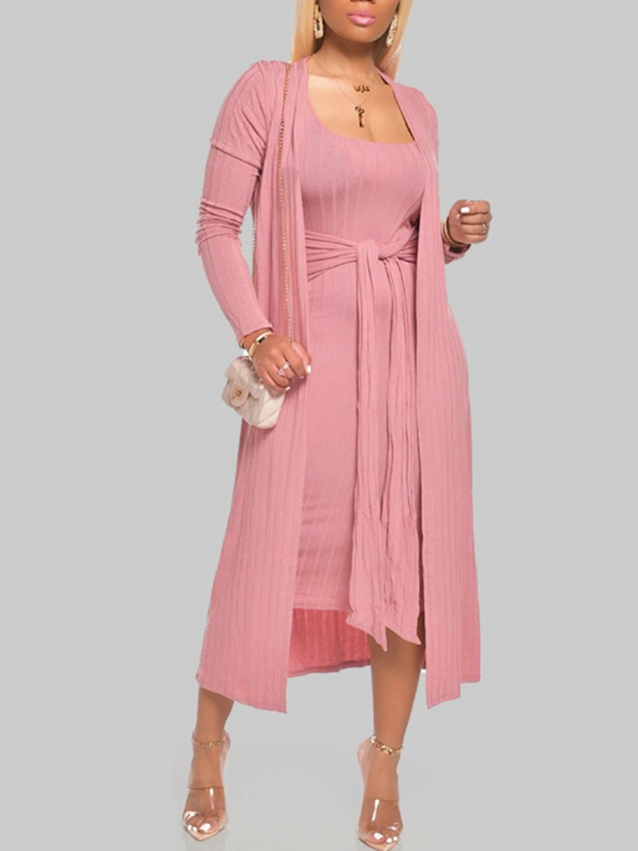 Lovely Casual Striped Knot Design Pink Loungewear фото