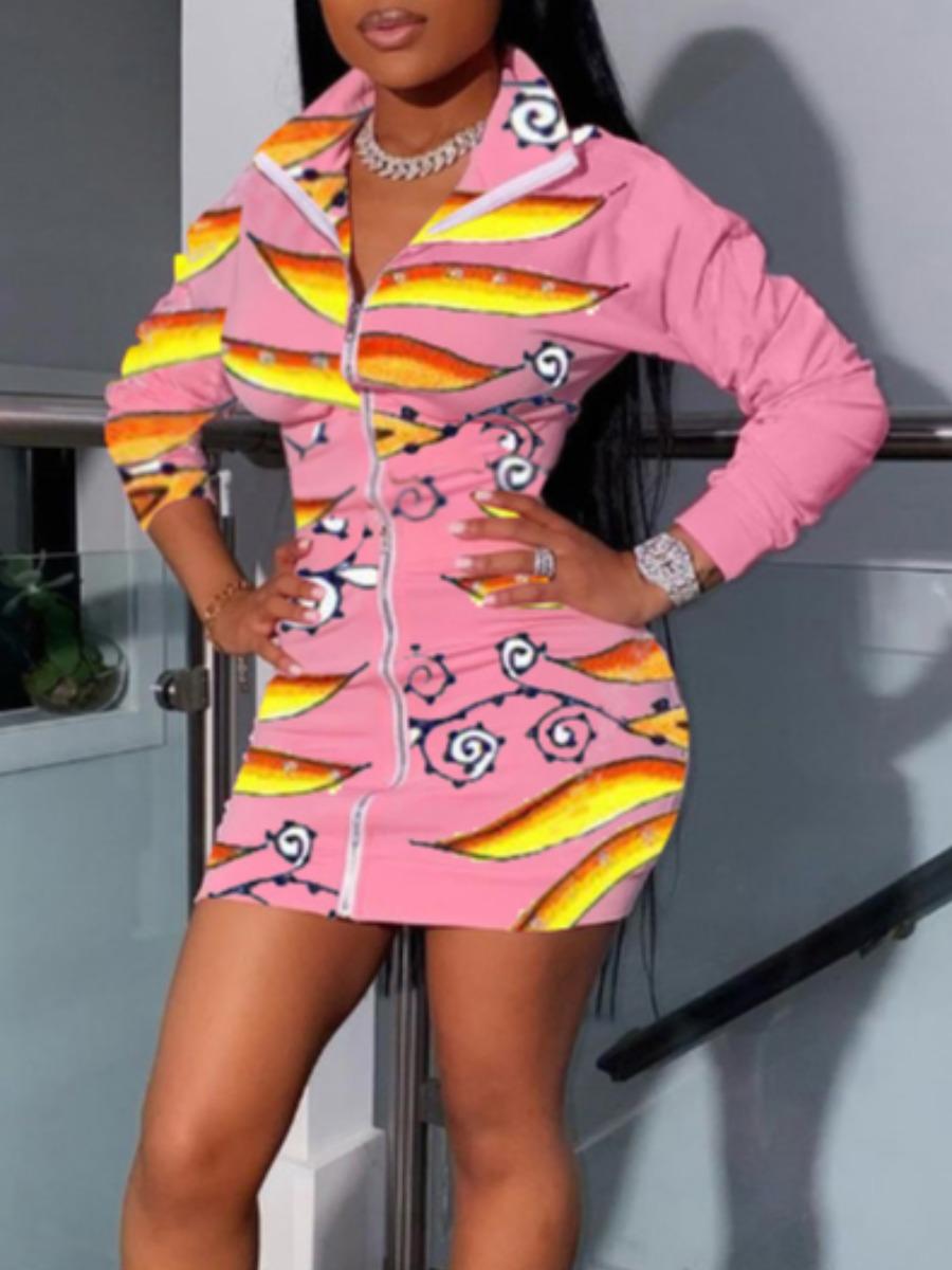 Lovely Sportswear Zipper Design Print Pink Mini Dress фото