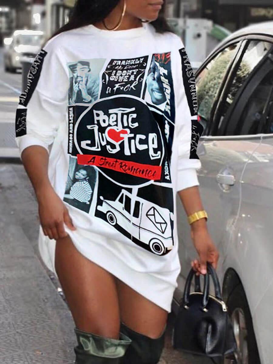Lovely Street O Neck Print White Knee Length Dress фото