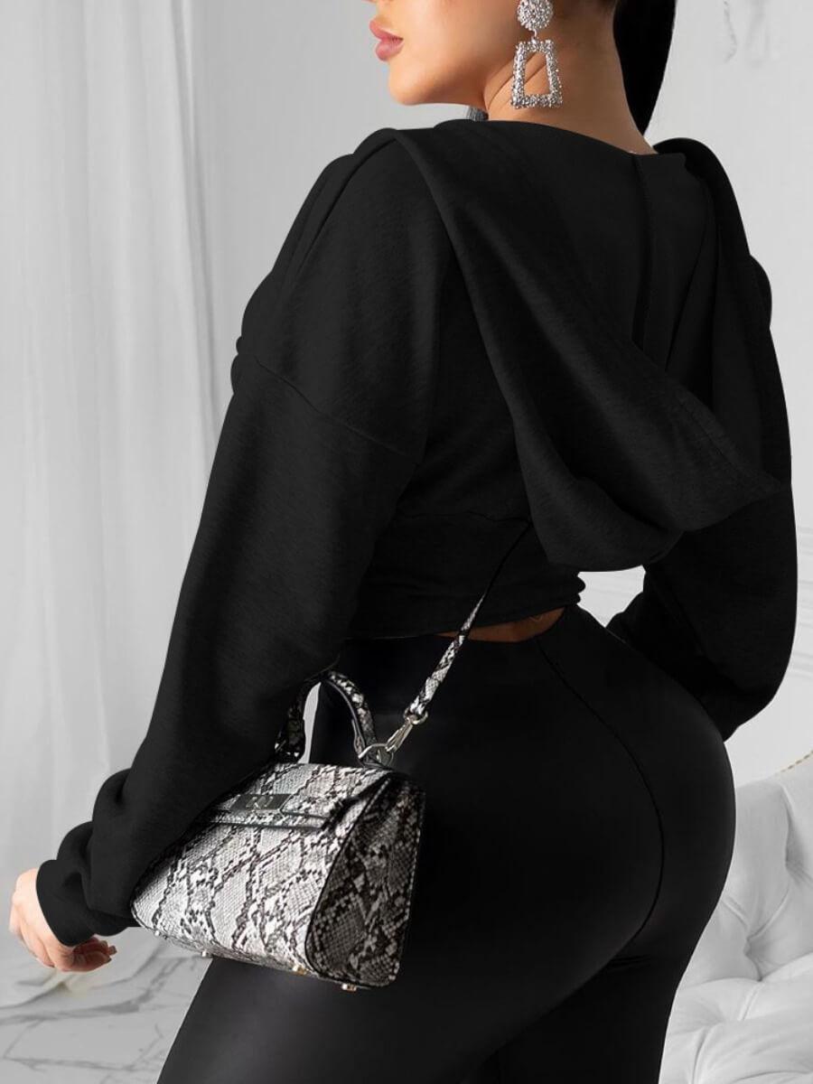 Lovely Street Hooded Collar Zipper Design Black Co
