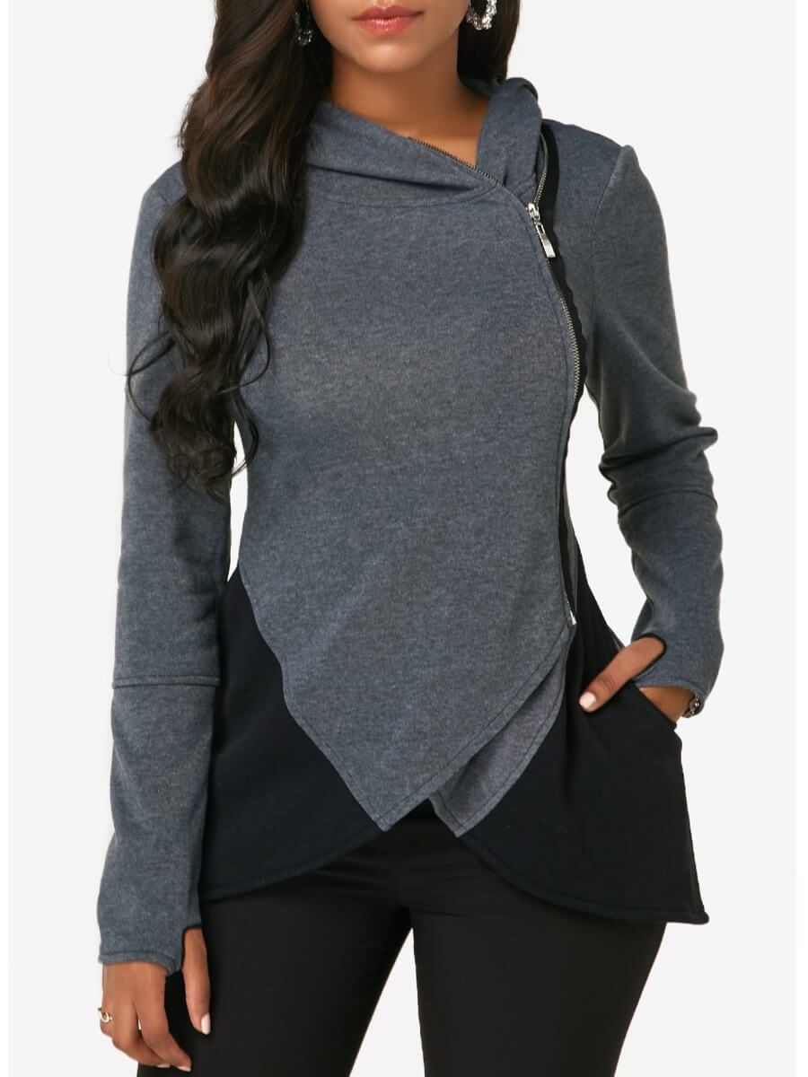 Lovely Casual Hooded Collar Zipper Design Patchwor