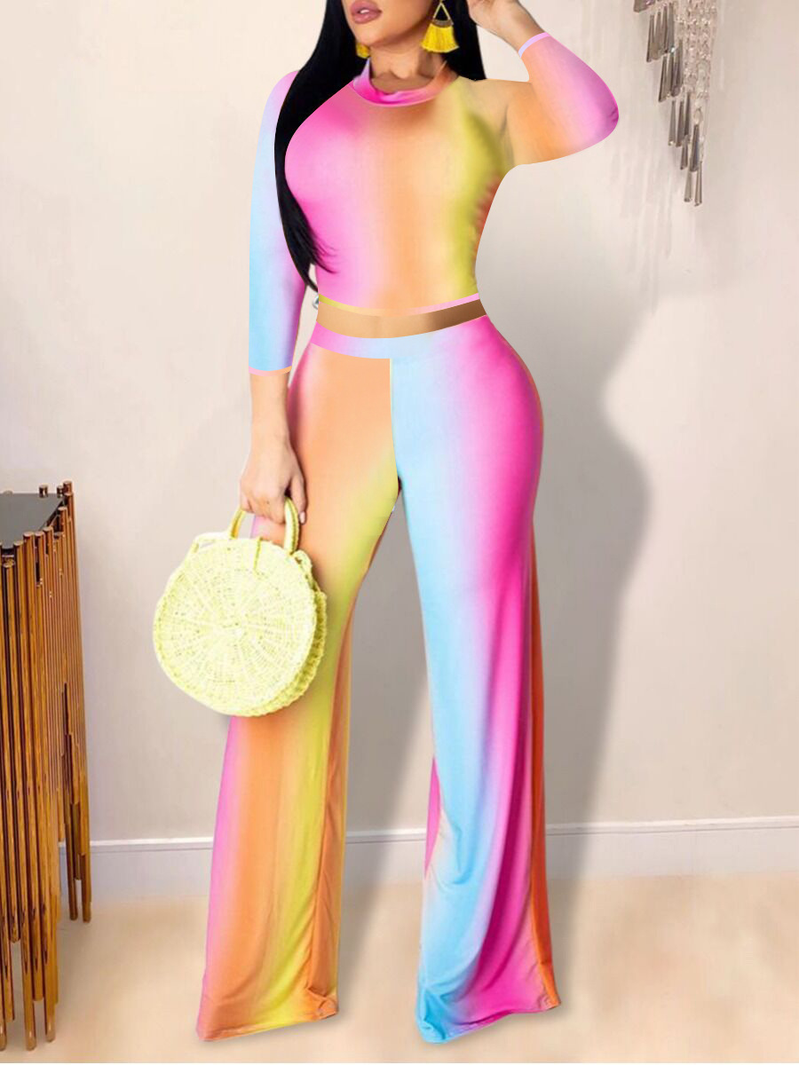 Two-piece Pants Set lovely Stylish O Neck Rainbow Tie Dye Multicolor Two Piece Pants Set фото