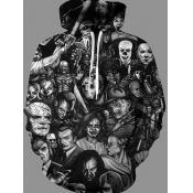 Men lovely Street Hooded Collar Skull Print Black
