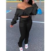 Lovely Trendy Dew Shoulder Fold Design Black Two Piece Pants Set