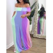 Lovely Trendy Dew Shoulder Rainbow Striped Purple