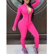 lovely Sportswear Zipper Design Rose Red One-piece Jumpsuit