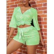 lovely Trendy Floral Print Green Two Piece Shorts
