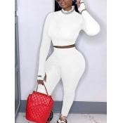 lovely Sportswear Zipper Design Skinny White Two P