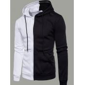 lovely Trendy Hooded Collar Zipper Design Patchwor