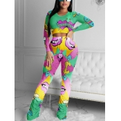 lovely Street O Neck Lip Print Fold Design Green Two Piece Pants Set