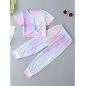 Lovely Street O Neck Tie-dye Purple Girl Two-piece