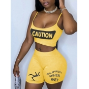 lovely Sportswear Spaghetti Strap Letter Print Yellow Two Piece Shorts Set