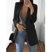 lovely Casual Turndown Collar Basic Black Blazer