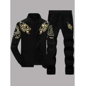 lovely Casual Zipper Design Print Black Men Two-piece Pants Set