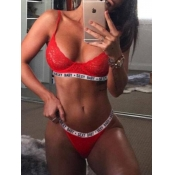 lovely Sportswear Letter Patchwork Red Bras Sets