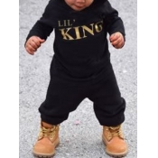 lovely Sportswear Hooded Collar Letter Print Black Boy Two-piece Pants Set