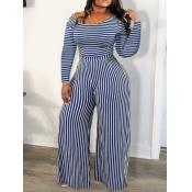 Lovely Trendy Striped Blue One-piece Jumpsuit(Batc
