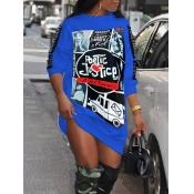 lovely Street O Neck Print Blue Knee Length Dress