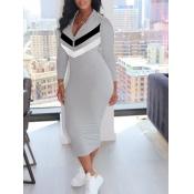 lovely Leisure Patchwork Zipper Design Grey Mid Calf Dress