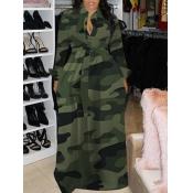 Lovely Casual Turndown Collar Camo Print Maxi Plus Size Dress