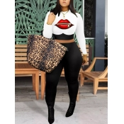 lovely Casual O Neck Lip Print Patchwork White Two Piece Pants Set